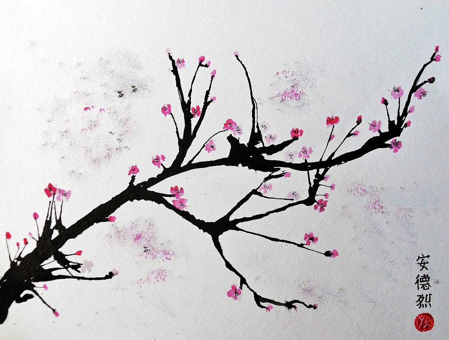 Cherry Blossom Painting by Andrea Realpe