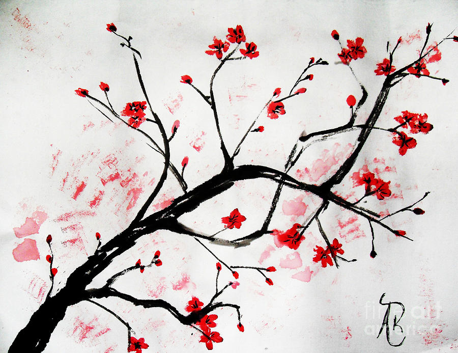 Cherry Blossom Love Painting By Andrea Realpe
