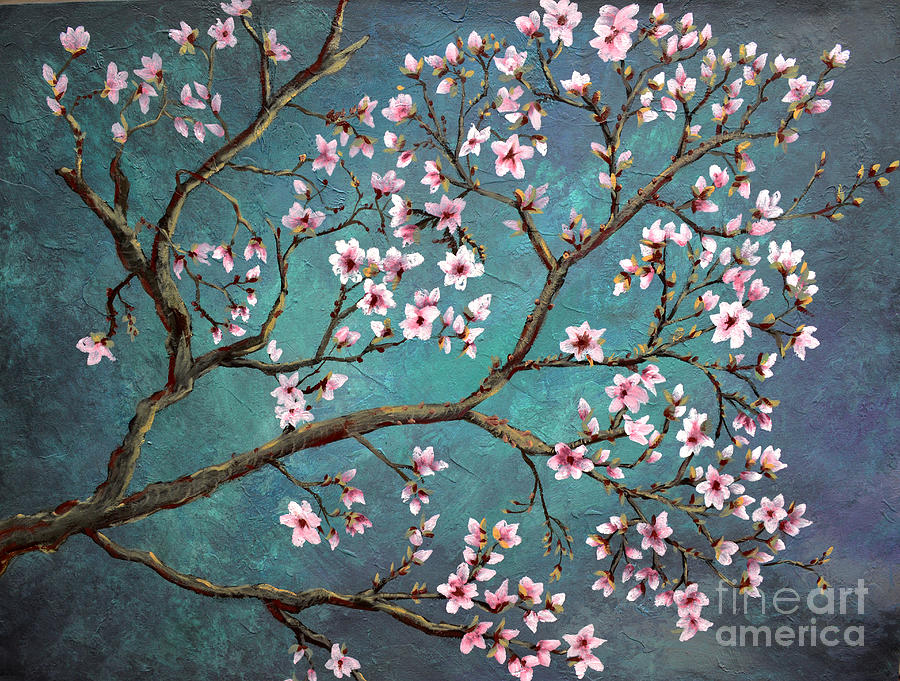 Cherry blossom painting by nancy bradley for Canvas painting of cherry blossoms