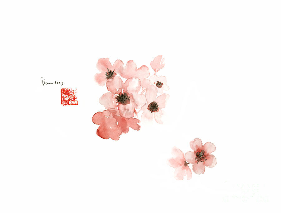 Cherry blossom sakura pink flower flowers delicate branch brown japan painting cherry blossom sakura pink flower flowers delicate branch brown watercolor painting by johana mightylinksfo