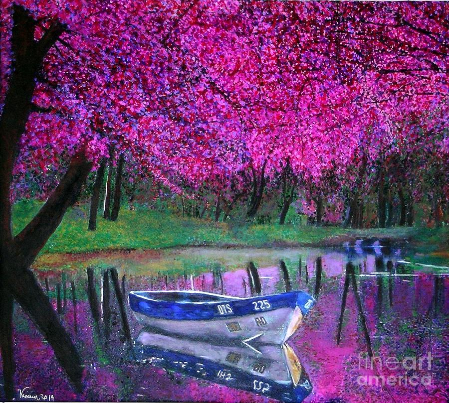 Cherry Blossoms Paintings Painting - Cherry Blossoms By The Lake by Marie-Line Vasseur