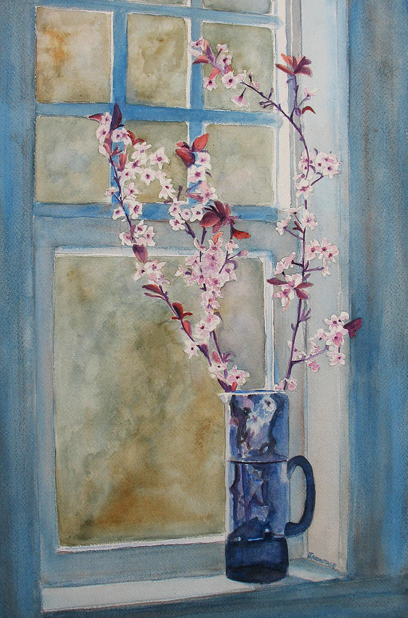 Cherry Blossoms Painting - Cherry Blossoms In A Blue Pitcher by Jenny Armitage