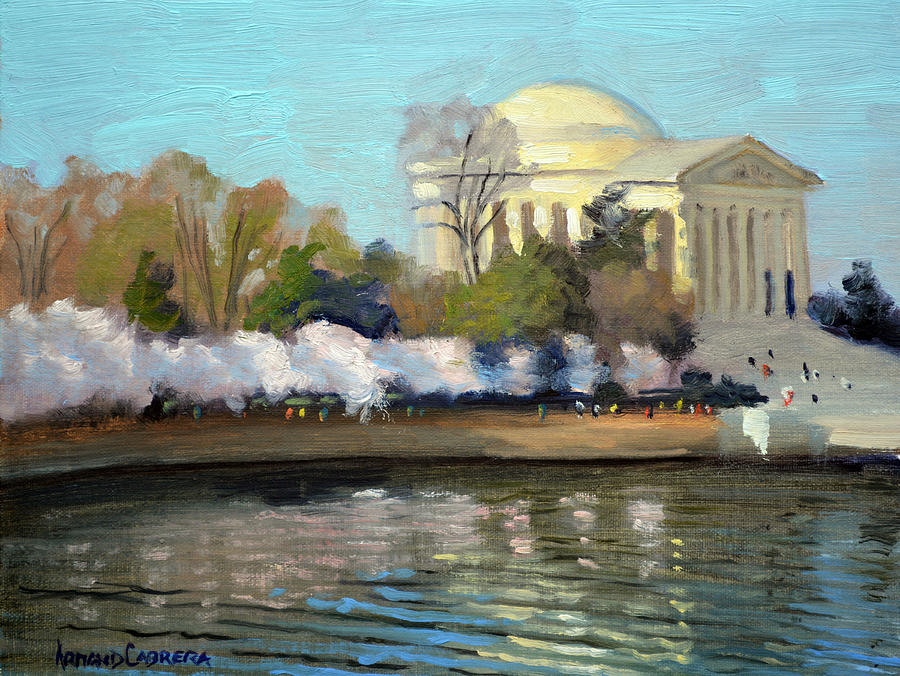 Washington Dc Painting - Cherry Blossoms Morning - Washington DC by Armand Cabrera