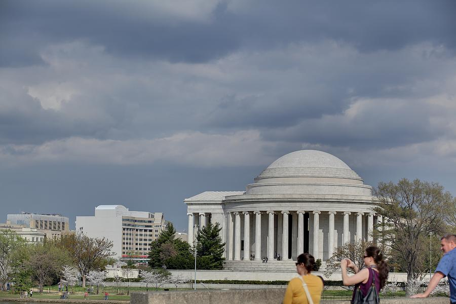America Photograph - Cherry Blossoms With Jefferson Memorial - Washington Dc - 011341 by DC Photographer