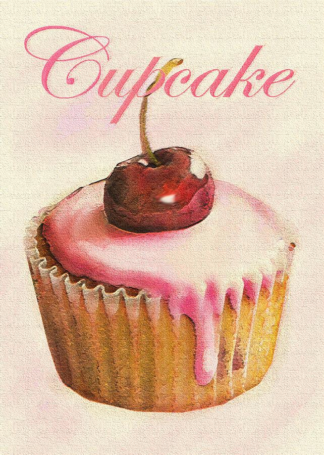 Cupcake Digital Art - Cherry Cupcake by Jane Schnetlage