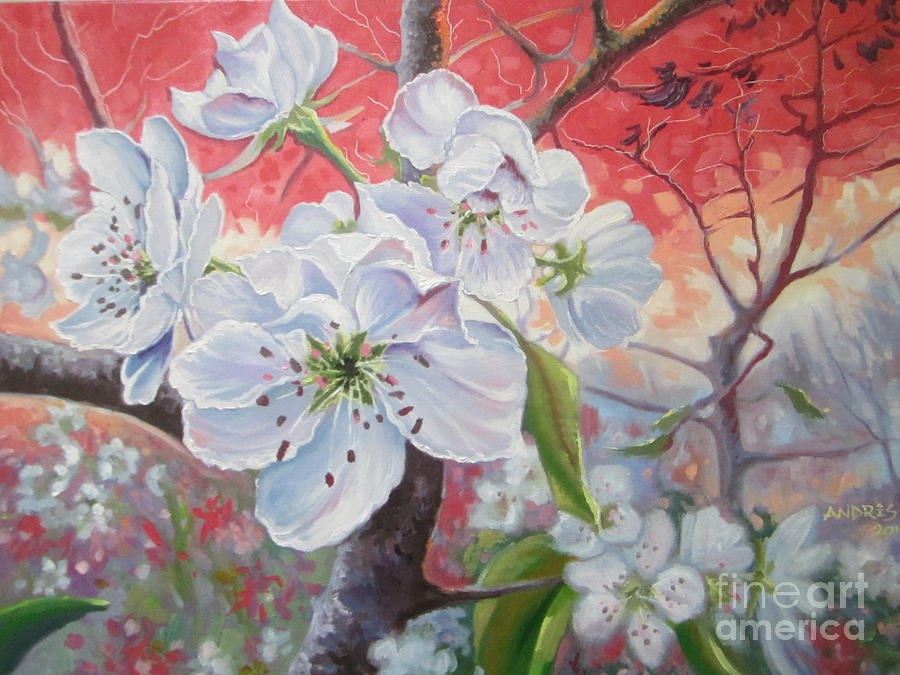 Cherry Painting - Cherry In Blossom Red by Andrei Attila Mezei