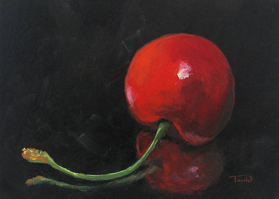 Cherry Painting - Cherry On Black by Torrie Smiley