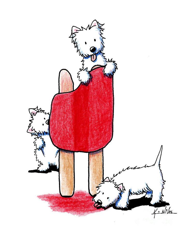 Westie Terrier Drawing - Cherry Pop Westies by Kim Niles