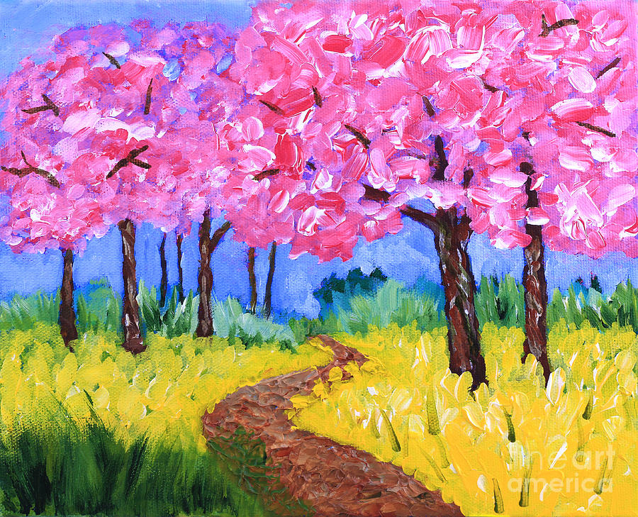 cherry trees and field mustard after the rain acrylic painting