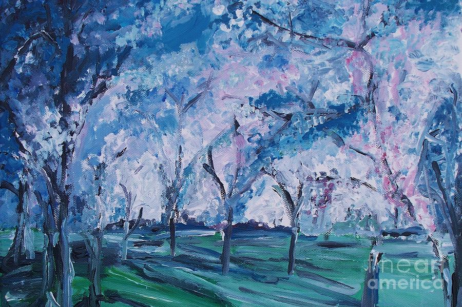 Cherry Trees Painting - Cherry Trees Impressionism by Eric  Schiabor