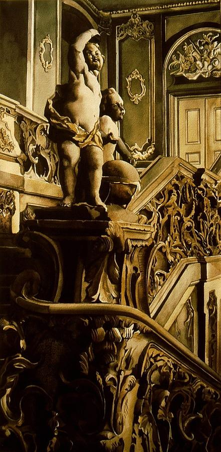 Watercolor Painting - Cherubs On The Stairs by Alfred Ng