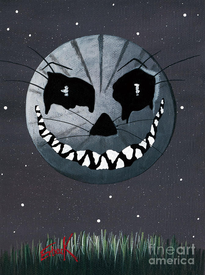 Cheshire Painting - Alice In Wonderland Artwork - Cheshire Moon by Erback Art