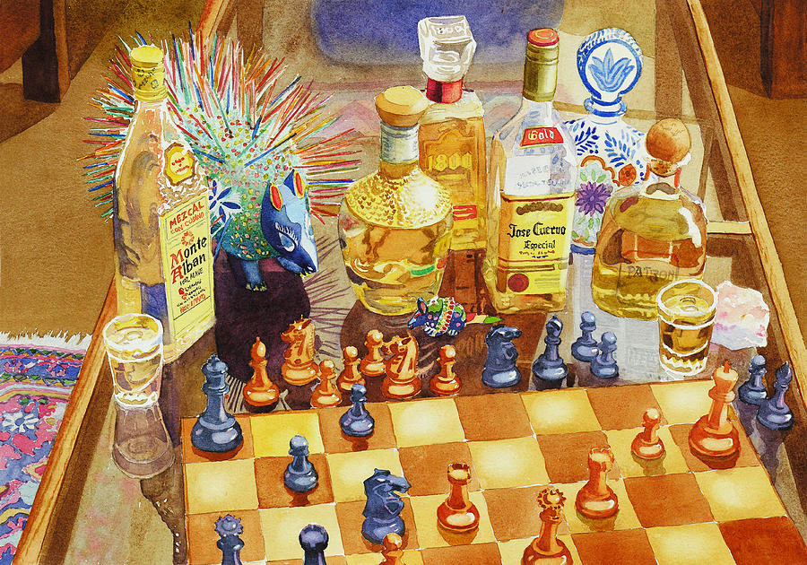Tequila Painting - Chess and Tequila by Mary Helmreich