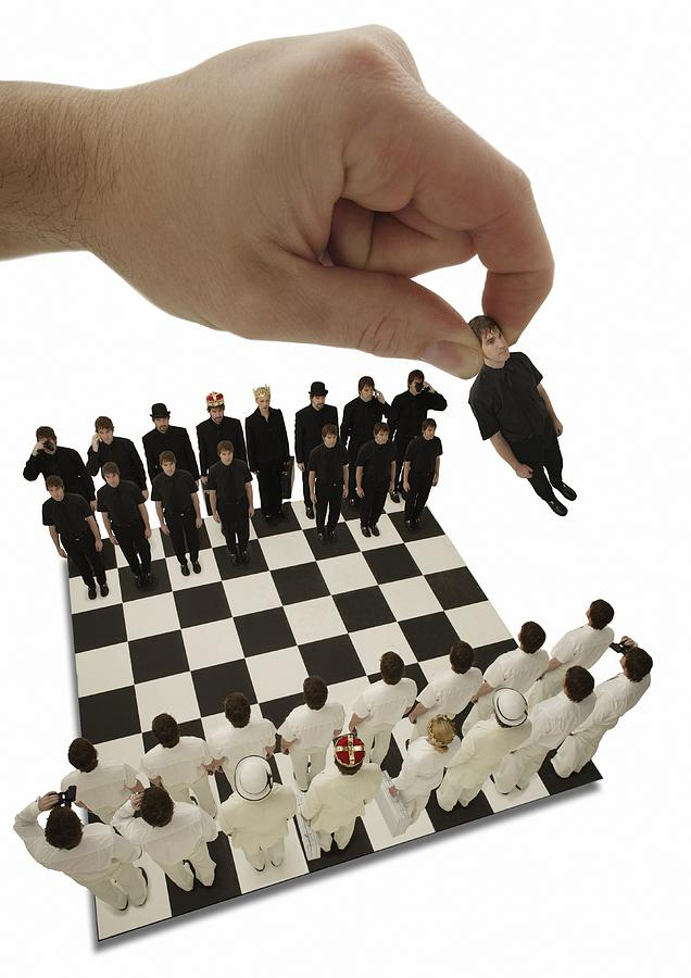 Win Photograph - Chess Being Played With Little People by Darren Greenwood