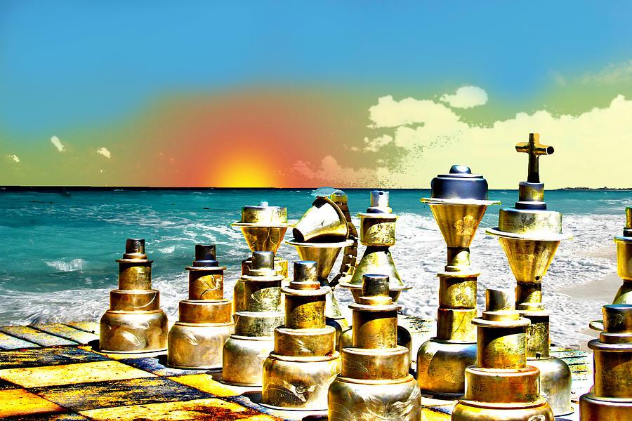Chess Photograph - Chess On Beach by Frank Savarese