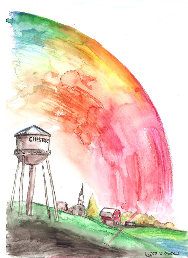 Chester Painting - Chesters Mill Under The Dome by Eusebio Guerra
