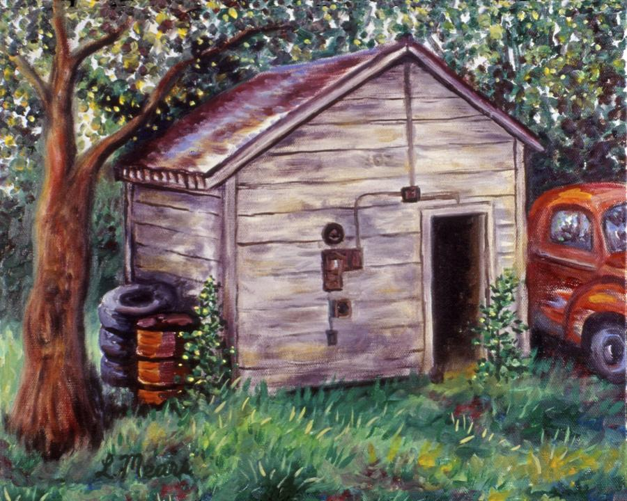 Shed Painting - Chesters Treasures by Linda Mears