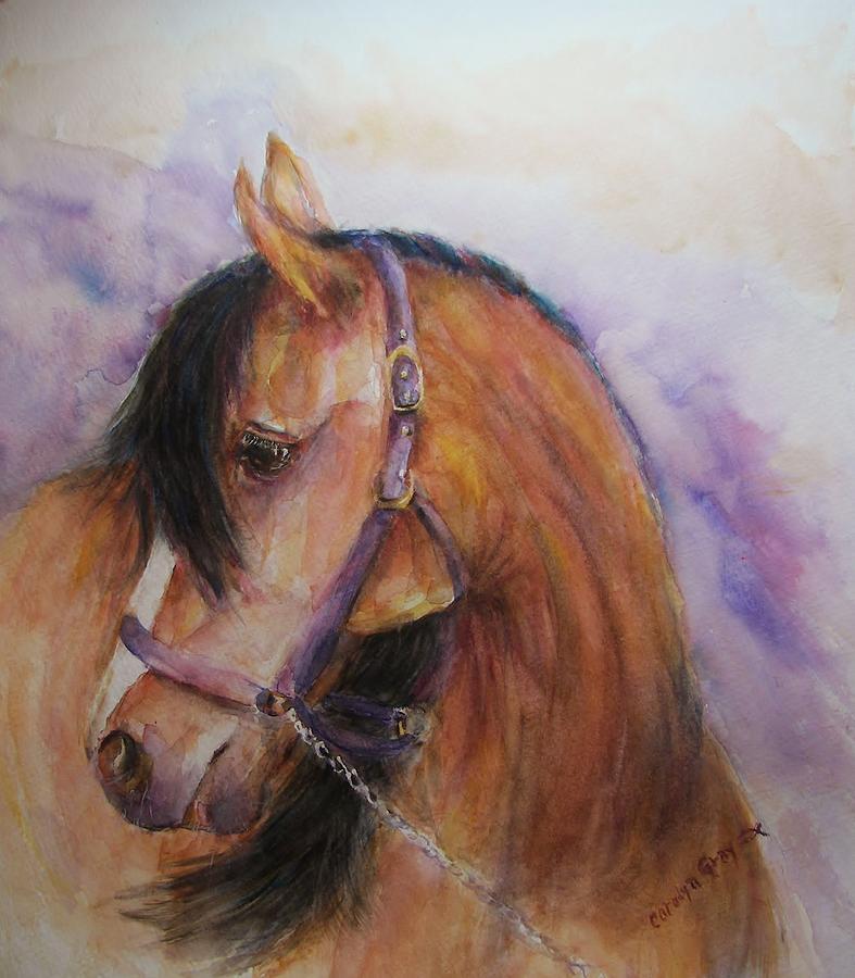 Horse - Bay -  Watercolor Portrait Painting