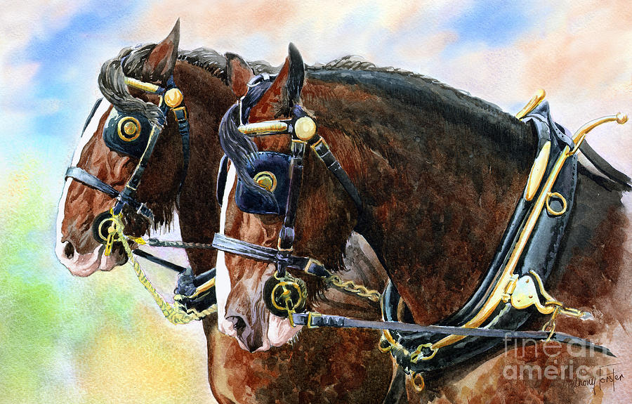 Shire Horses Painting - Chestnut Shire Horses by Anthony Forster