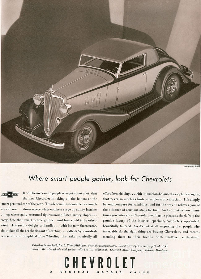 Adverts Drawing - Chevrolet 1933 1930s Usa Cc Cars by The Advertising Archives