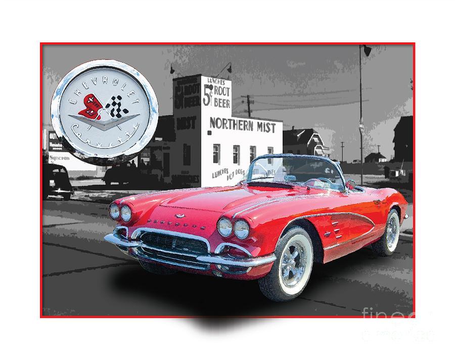 Classic Digital Art - Chevrolet Corvette 1962 by Dan Knowler