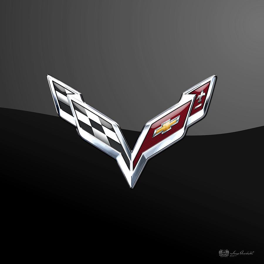 chevrolet corvette 3d badge on black digital art by