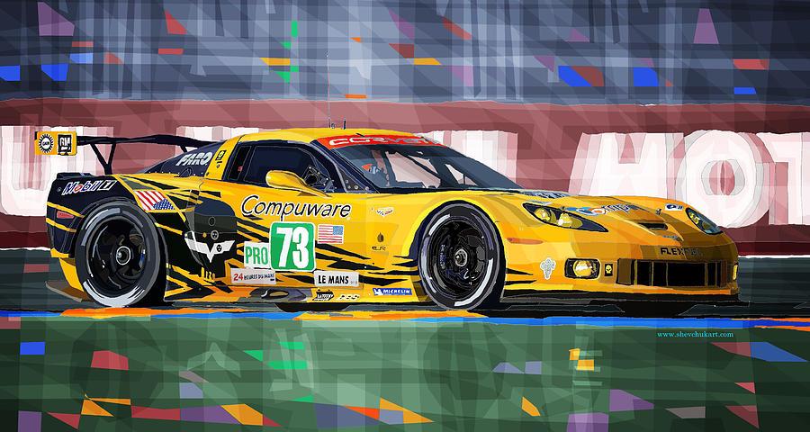 Automotive Mixed Media - Chevrolet Corvette C6R GTE Pro Le Mans 24 2012 by Yuriy Shevchuk