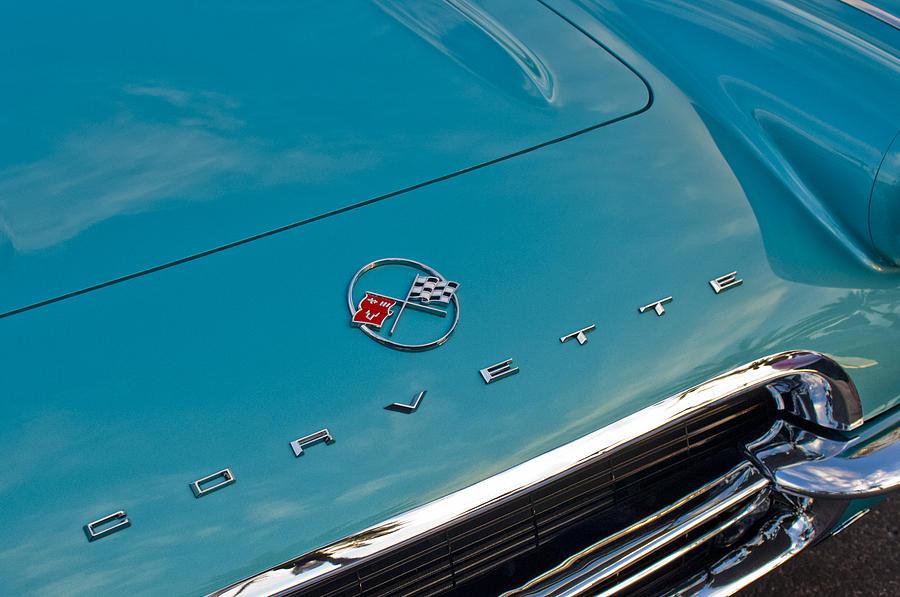 Chevrolet Corvette Photograph - Chevrolet Corvette Hood Emblem 2 by Jill Reger