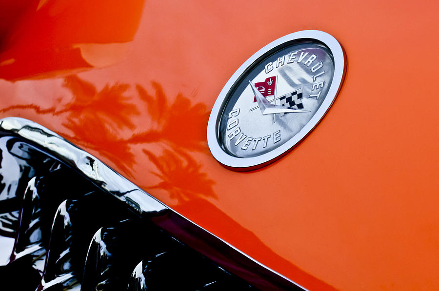 Chevrolet Corvette Photograph - Chevrolet Corvette Hood Emblem by Jill Reger