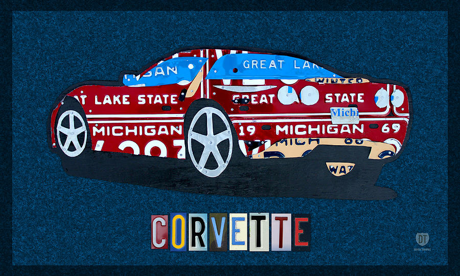 Chevrolet Mixed Media - Chevrolet Corvette Recycled Michigan License Plate Art by Design Turnpike