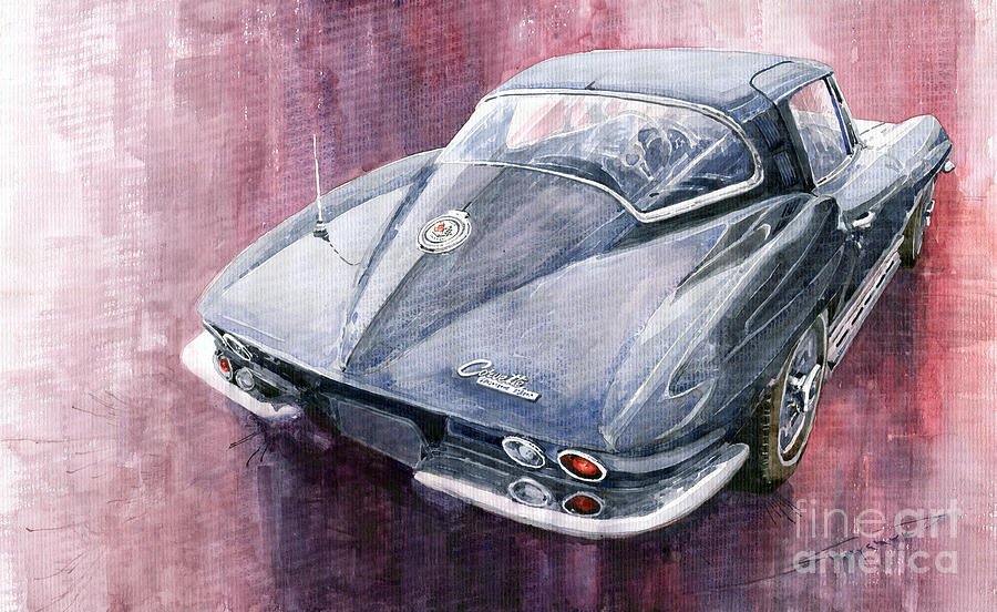 Watercolor Painting - Chevrolet Corvette Sting Ray 1965 by Yuriy  Shevchuk