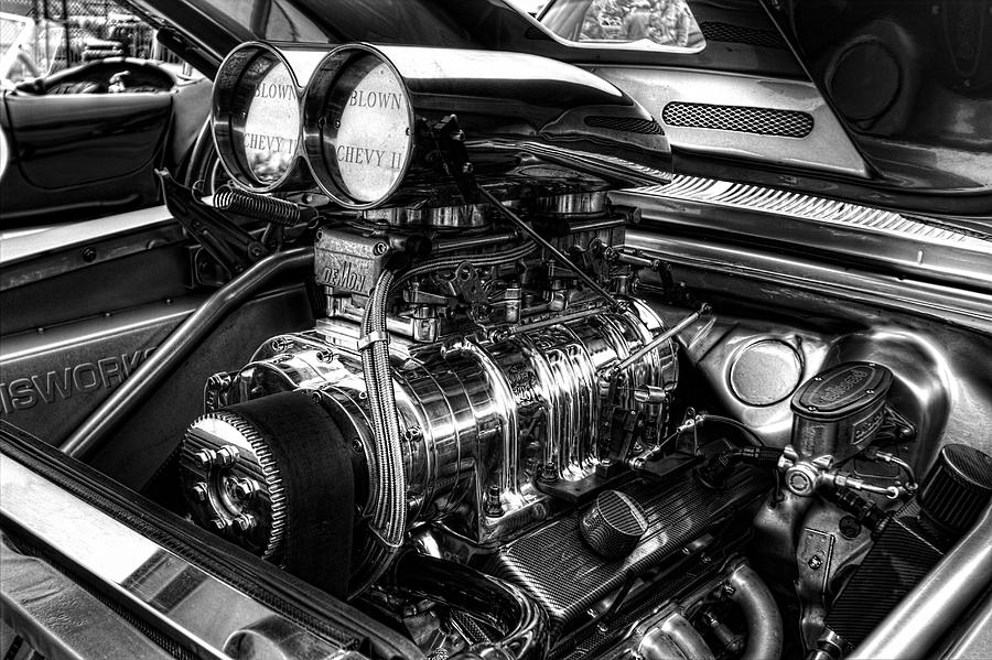 Chevy Supercharger Motor Black And White Photograph