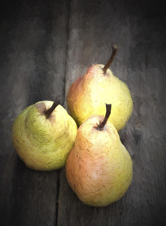 Pears Photograph - Chiaroscuro Style Image Fresh Juicy Pears In Rustic Wooden Setting by Matthew Gibson