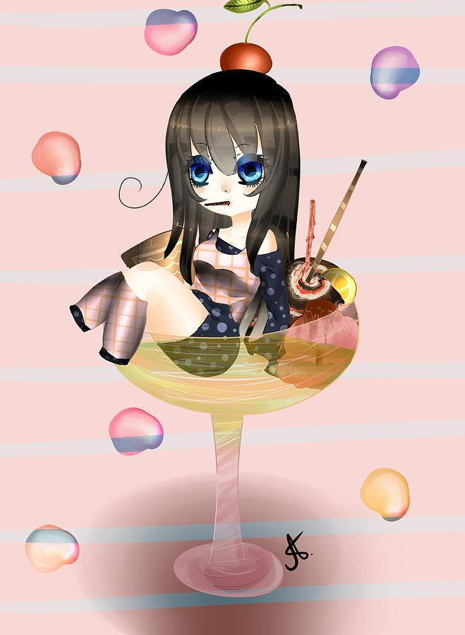 chibi girl digital art by angela boshevska