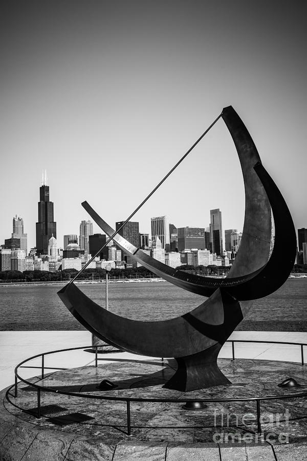 Adler Photograph - Chicago Adler Planetarium Sundial In Black And White by Paul Velgos