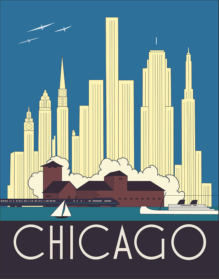 Chicago Art Deco Skyline Digital Art by Josef Spalenka