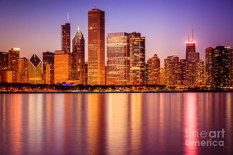 Chicago At Night Downtown City Lakefront Photograph
