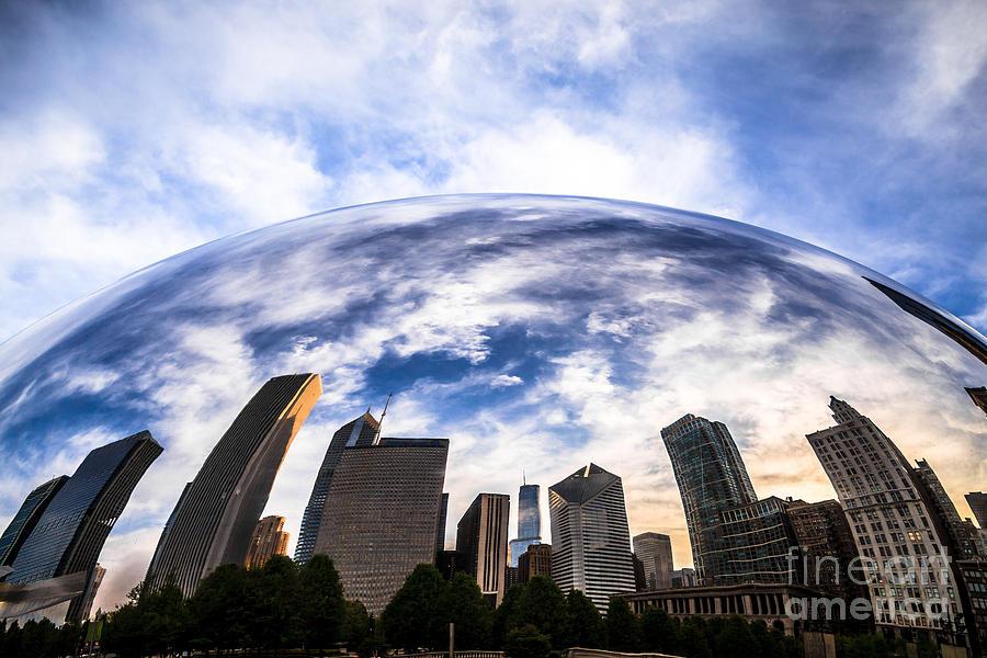 Bean Photograph - Chicago Bean Cloud Gate Skyline by Paul Velgos