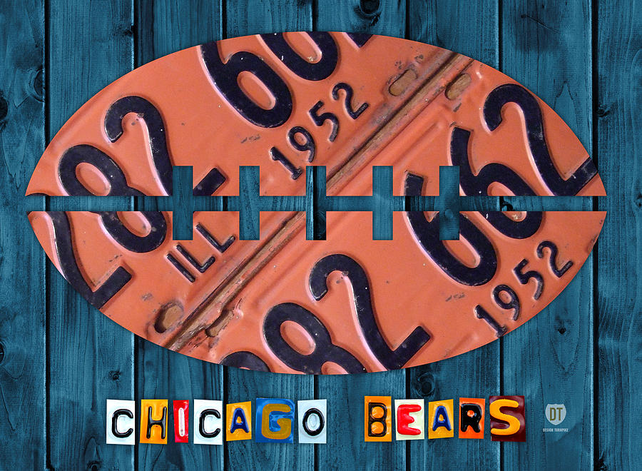 Chicago Mixed Media - Chicago Bears Football Recycled License Plate Art by Design Turnpike