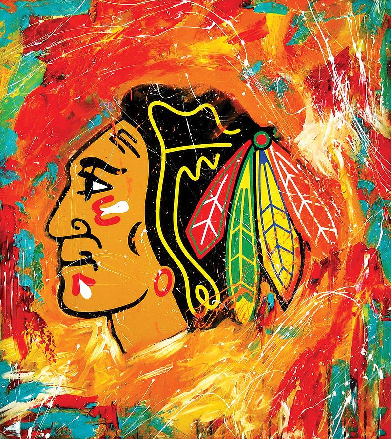 Chicago Blackhawks Logo Painting by Elliott From