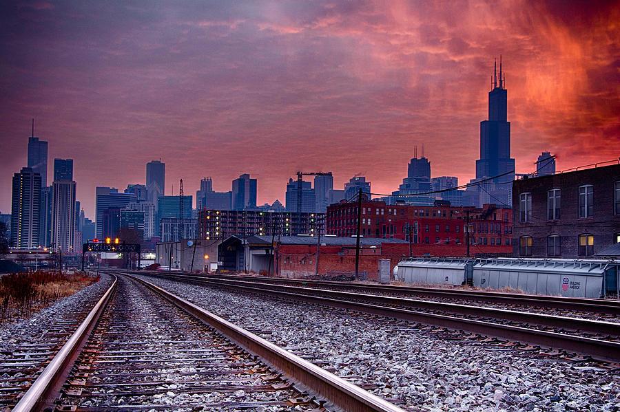 Sunrise Photograph - Chicago Bound 12-2-13 Sunrise  by Michael  Bennett
