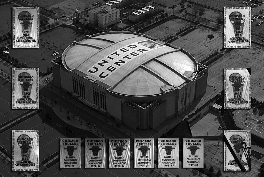 Chicago Bulls Photograph - Chicago Bulls Banners In Black And White by Thomas Woolworth