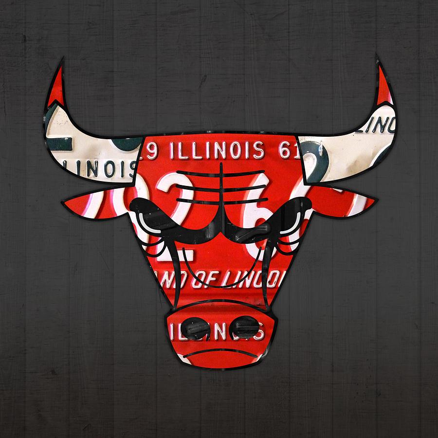 Chicago Bulls Basketball Team Retro Logo Vintage Recycled