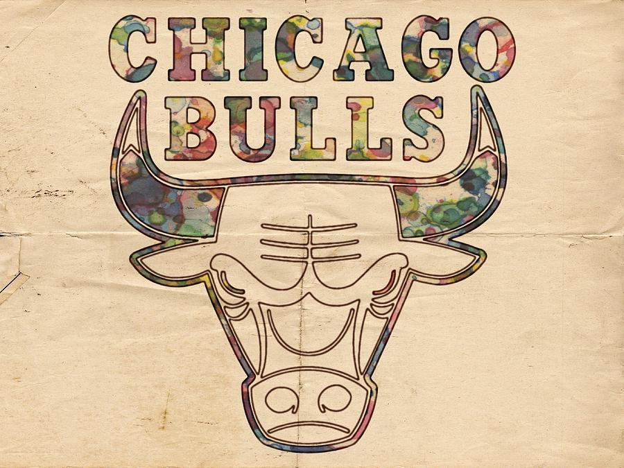 Chicago Bulls Painting - Chicago Bulls Logo Vintage by Florian Rodarte