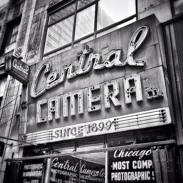 America Photograph - Chicago Central Camera Sign Picture by Paul Velgos