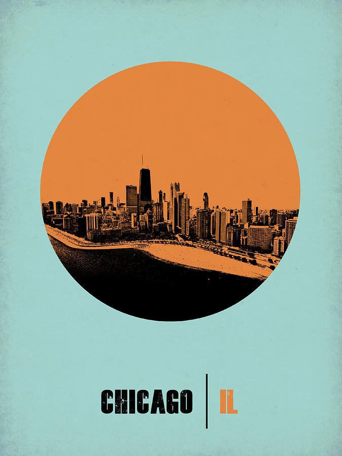 Chicago Digital Art - Chicago Circle Poster 2 by Naxart Studio