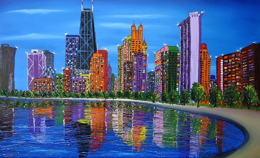 Painting - Chicago City Lights #1 by Portland Art Creations