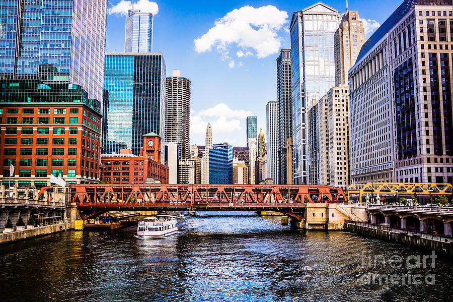 Chicago Cityscape At Wells Street Bridge Photograph By