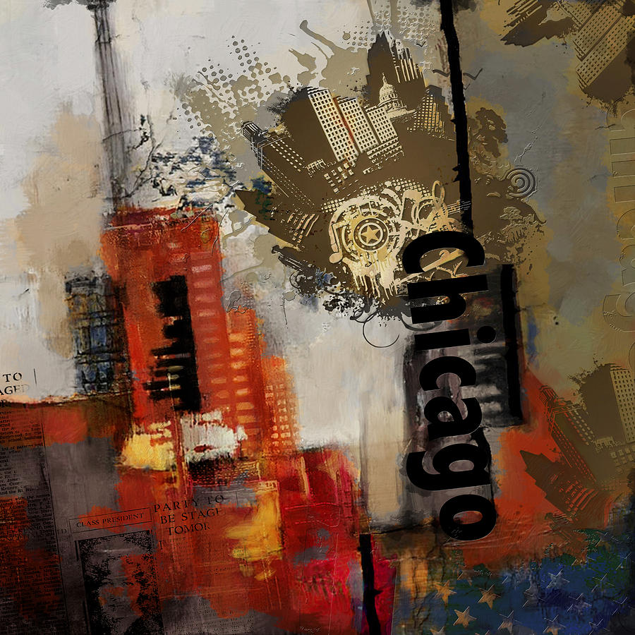 Chicago Painting - Chicago Collage by Corporate Art Task Force