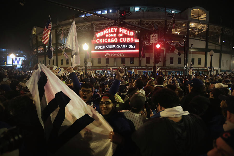 Chicago Cubs Fans Gather To Watch Game Photograph by Scott Olson